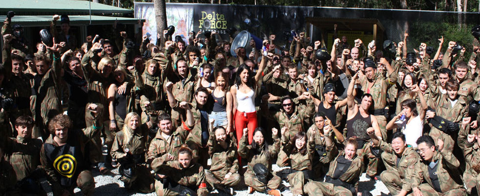 Group photo session at Delta Force Paintball